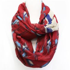Barnabas Clothing Co. | Red Bird Infinity Scarf. Barnabas gives a portion of each sale to those with terminal illnesses in Kenya.