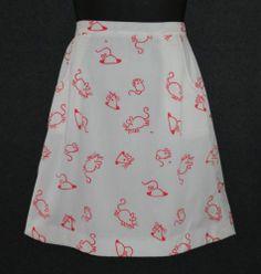 Vested Gentress Sz 14 Vtg White Orange Mouse Hand Screen Print Wrap Skirt | eBay
