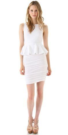Alice + Olivia Peplum Tank Dress w/ Ruched Skirt