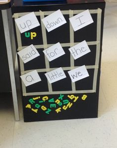 This has been a successful center for me. It is great for sight word/vocab practice. Use the side of a classroom refrigerator, a magnetic dry-erase board, or the side of a filing cabinet for an instant learning center