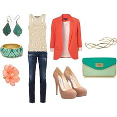 My first Polyvore creation!! Orange & Teal, created by kbigelow.polyvore... color mix, color combos, cloth, style, coral blazer, colors, outfit, blazers, closet