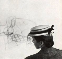 Model in hat by Paulette, photo by Georges Saad, 1951