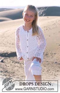 DROPS Girl's Crocheted Cardigan in Muskat ~ DROPS Design