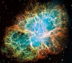 A Pulsar Star is a rapidly spinning Neutron Star which pulses radiation. This is a photo of the Crab Nebula which is the remnants of a supernova explosion. There is a Pulsar star in the center of the nebula