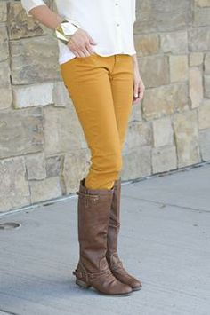 Mustard and other colors of skinny jeans for cheap!