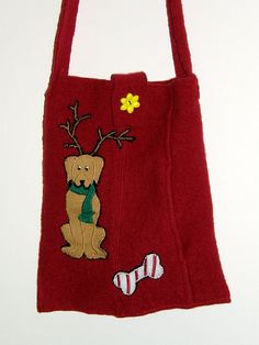 Christmas Red Felted Ipad Case Messenger bag with Doggie and bones