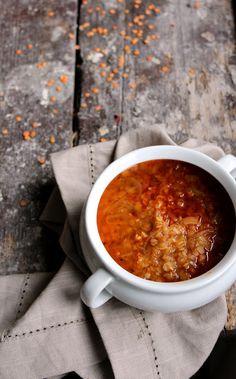 Onion lentil soup