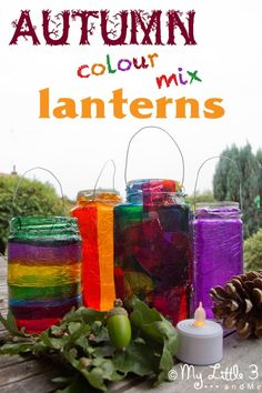 Easy Stained Glass Effect Lanterns, a lovely Autumn/Fall craft for kids and a great way to explore colour mixing. From My Little 3 and Me.