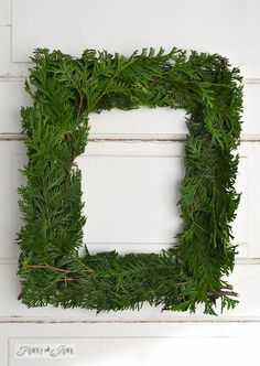 Square evergreen wreath / How to make a square evergreen wreath on a picture frame. So easy!  via http://www.funkyjunkinteriors.net/