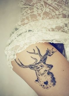 Stag with antlers thigh tattoo #doublju
