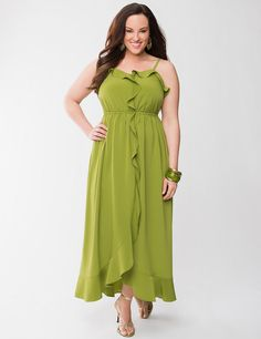 lane collection satin ruffled maxi dress lane bryant s.s2013