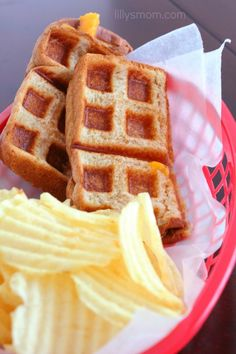 Waffle Iron Grilled Cheese!!! Easiest way to make a grilled cheese sandwich in under 5 minutes. My kid loves this.