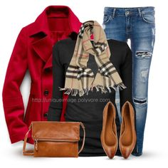 I've got a red wool coat, a black sweater, cognac shoes, and a matching Coach purse. And of course I have tons of scarves. Woot!