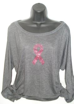 Charcoal Slouchy Breast Cancer Pink Bling by BlingIsTheNewBlack, $33.00
