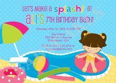 Pool Party Birthday Invitation  Choose your girl  by jcbabycakes, $12.00