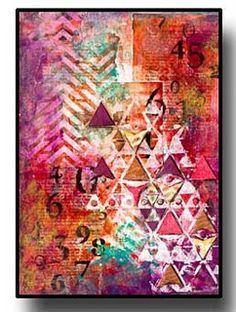 art journal, color, journal art, art mix, art houses, mix media, triangl, stencils, hous studio