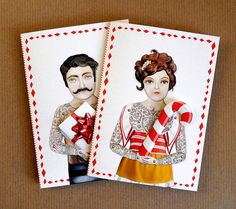 10 Tattoo Carnival People Holiday Cards, 5 Ladies and 5 Men