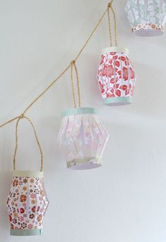 Pretty prints make for pretty lights with this Paper Lantern Garland #DIY.