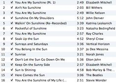 Sunshine playlist for the baby shower!