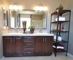 master bath with etagere