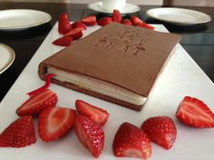 Chocolate Book with white chocolate pages filled with dulce de leche and chocolate ganache.