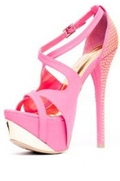 PINK STRAPPY HIGH HEEL PLATFORM PUMPS