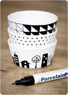 idea, little houses, porcelain painting diy bowls, diy art, sharpie mugs, bird of paradise, paintings, crafts, paint porcelain