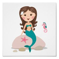 Cartoon mermaid with starfish and seahorse poster by BrightAndBreezy