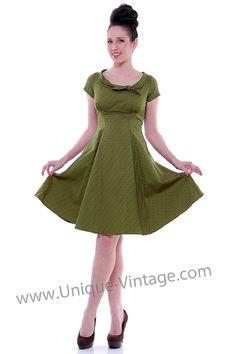 Heartbreaker 50's Style Olive Green Print Beverly Swing Dress