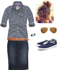 Plaid shirt, denim skirt, vans/keds, sunglasses, and french braid bun!!!!!!!!!!!!!!! me luuuuuuuuuuuv