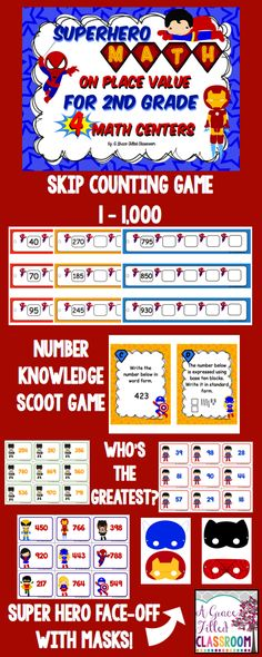 These super hero math activities are an action packed fun way to practice second grade place value skills. What better way to practice than with characters kids enjoy. It's not just all fun and games… there is plenty of learning to be done.