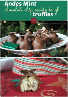 Andes Mint Cookie Dough Truffles: (no egg) cookie dough center with chopped Andes, a perfect holiday treat