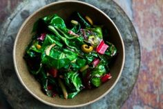 Swiss Chard with Olives--omit pepper