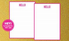 99c THIS WEEKEND ONLY! Printable stationery Hello pen pal pack letter by HappyMailDay, $0.99