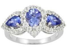Kutamani Tanzanite(Tm) Pear Shape And White Topaz Round 2.62ctw Sterling Silver Ring