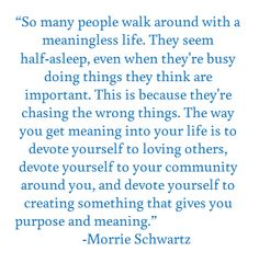Love this quote - http://www.miscfinds4u.com/blog/2012/06/09/quote-morrie-schwartz-the-meaning-of-life-devote-yourself-to-loving-others/