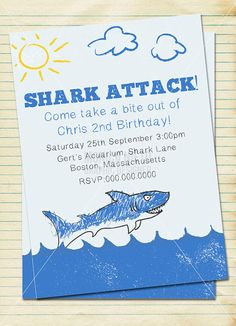 Custom Printable Shark themed birthday party invitation