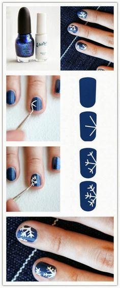 Blue & White Snowflake Nails - Christmas & Winter Holiday - DIY Nails   DIY & Crafts Nailart Photos