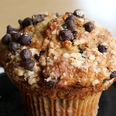 so good! Banana Chocolate Chip muffins. I used Plain Greek Yogurt instead of Sour Cream and they were really moist!
