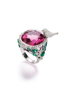 Piaget Limelight Garden Party ring with a pink cushion-cut rubellite