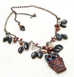 Brown Beaded Necklace Whimsical Owl by CherylParrottJewelry, $114.95