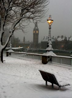 London in the winter snow.