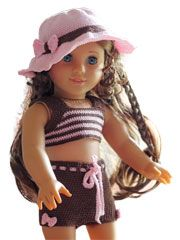 """American Girl 18"""" Doll crochet beach outfit inspiration. Annies does sell the PDF pattern"""