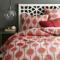 Organic Bead Print Ikat Duvet Cover + Shams - Dark Ember | west elm $109 grey walls, headboard, bead, guest bedrooms, duvet covers, master bedrooms, guest rooms, ikat duvet, west elm