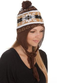 Sakkas Womens Pom Heart Snowflake Fully Lined Knit Winter Hat / Earflap Beanie