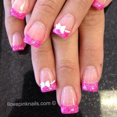 Pink and White Bow French nails