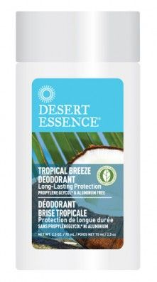 Desert Essence's Tropical Breeze Deodorant doesn't irritate sensitive skin.  It combines the antiseptic properties of Tea Tree Oil with Witch Hazel.  And none of Desert Esence's deodorants contain aluminum (and the use of aluminum is why I don't use drugstore deodorants anymore)! #NaturalBeautyDesertEssence