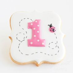 Lady Bug First Birthday Number Cookie Favors // 1 dozen // Baby Girl Birthday Party // Preservative Free on Etsy, $39.50