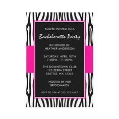 pink zebra invitation