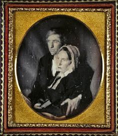 """from """"Sleeping Beauty II""""  Burns Archive Press -- Man Holding Dead Wife, 'Till Death Do Us Part,' Daguerreotype circa 1845  [In era when few portraits were taken, a post-mortem photo might be the only chance to capture a likeness.]"""
